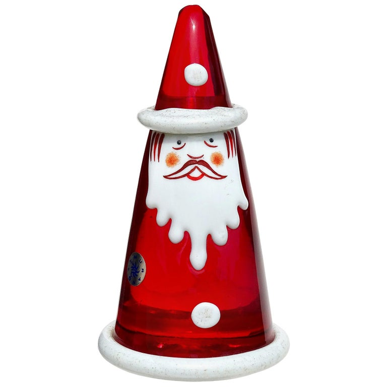 Murano Red White Painted Face Italian Art Glass Santa Claus Paperweight Figure For Sale