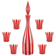 Murano Red White Zanfirico Ribbons Italian Art Glass Decanter Shot Glasses Set