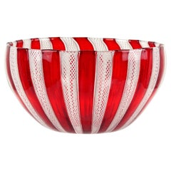 Murano Red White Zanfirico Ribbons Italian Art Glass Decorative Candy Dish Bowl