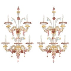 Murano Rezzonico Sconce 3+2 Arms Clear and Multi-Color Glass Toffee, Multiforme