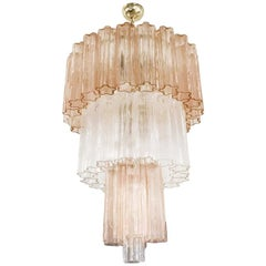 Murano Rose and Clear Glass Chandelier