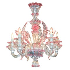 Murano Rose-Tinted Glass Chandelier, circa 1920