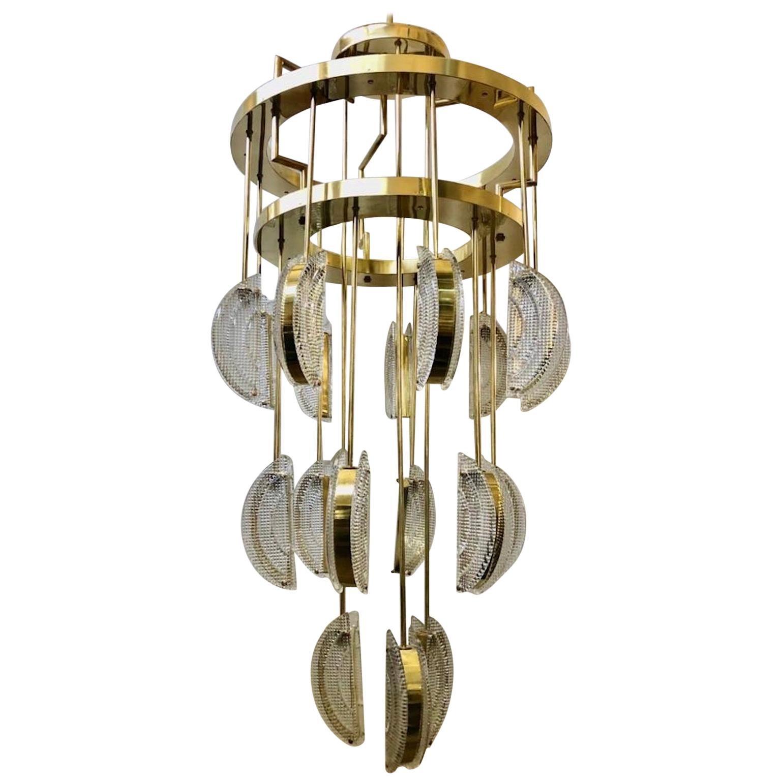 Murano Round Art Glass and Brass Mid-Century Chandelier, 1970