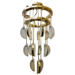 Murano Round Art Glass and Brass Mid-Century Chandelier, 1970
