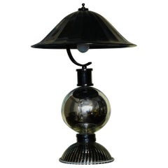 Murano Round Black Glass Table Lamps, 1950