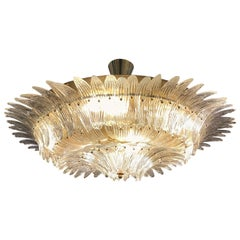 Murano Round Chandelier with Clear Glass Leaves, Brass Structure, 1950s