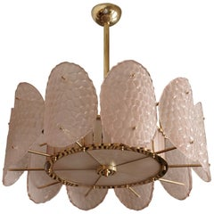 Murano Round Light Pink Color Glass and Brass Midcentury Chandelier, 1950