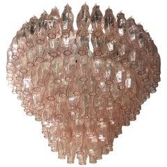 Murano Round Pink Polyhedra Mid-Century Chandelier, 1970