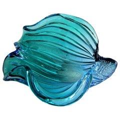 Murano Seguso Aqua Blue Seashell Centrepiece Bowl