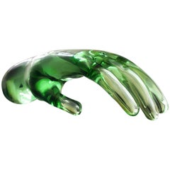 Murano Seguso Art Glass Hand Sculpture Venetian Studio Glass Midcentury Italian