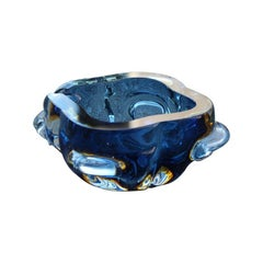 Murano Seguso Blu Bowl Italian Design 1960 Quatrefoil Ashtray