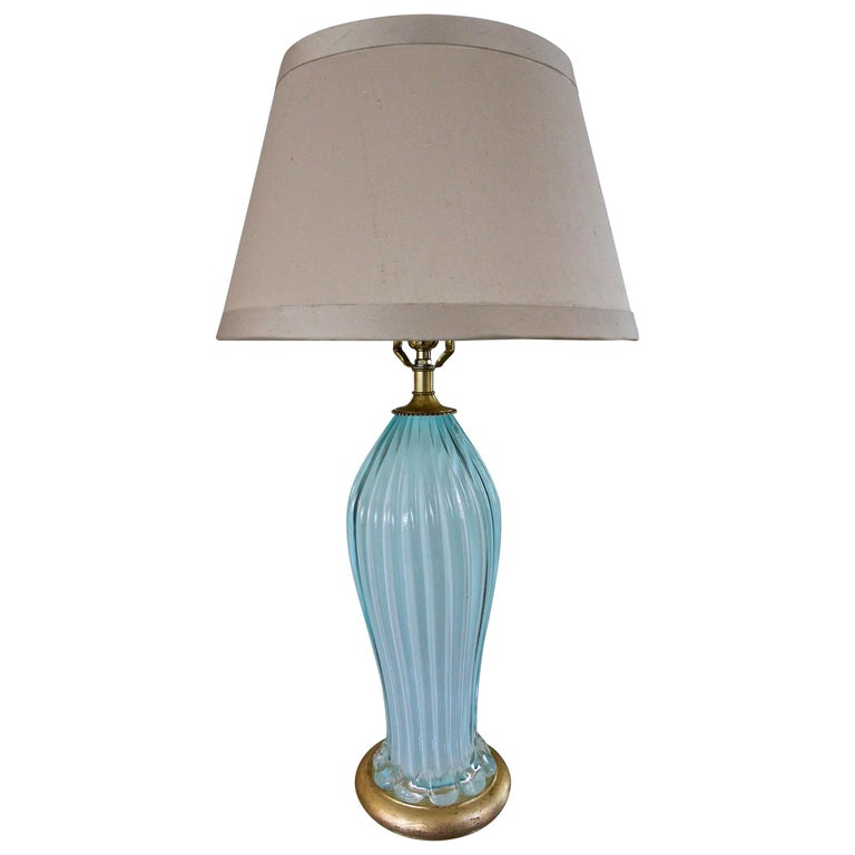 Murano Seguso Italian Baby Blue Glass Ribbed Table Lamp For Sale At