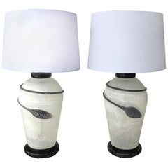 Murano Seguso Scavo Glass Table Lamps on Lacquered Bases, a 1980s Pair