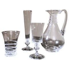 Murano Service 36 Glasses and Pitcher in Blown Glass And Applied Decorations