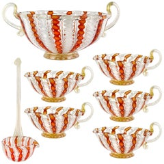 Murano Seven-Piece Orange Aventurine Ribbons Italian Art Glass Punch Bowl Set