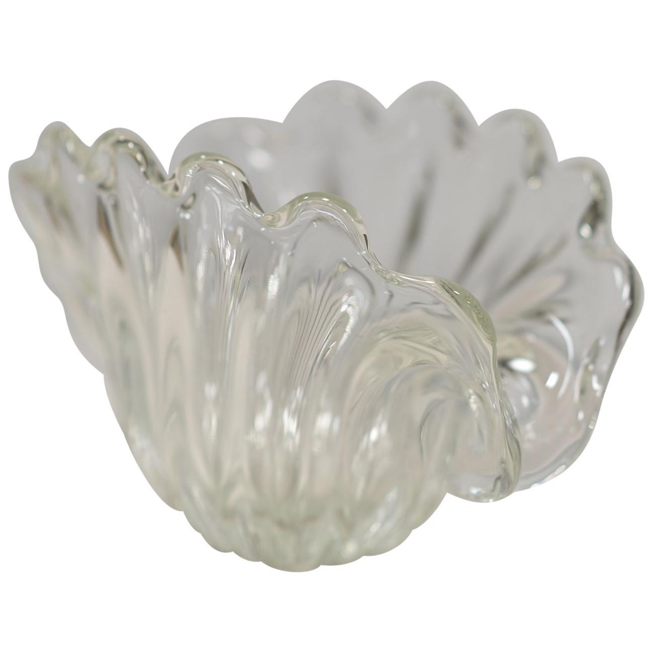 Hand Sculpted Shell Shape MURANO Glass Bowl