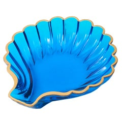 Murano Shell Shaped Clear Blue Glass Dish, Italy, 20th Century
