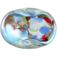 Murano Silver Flecks Blue Red Teal Multi-Color Patches Italian Art Glass Bowl