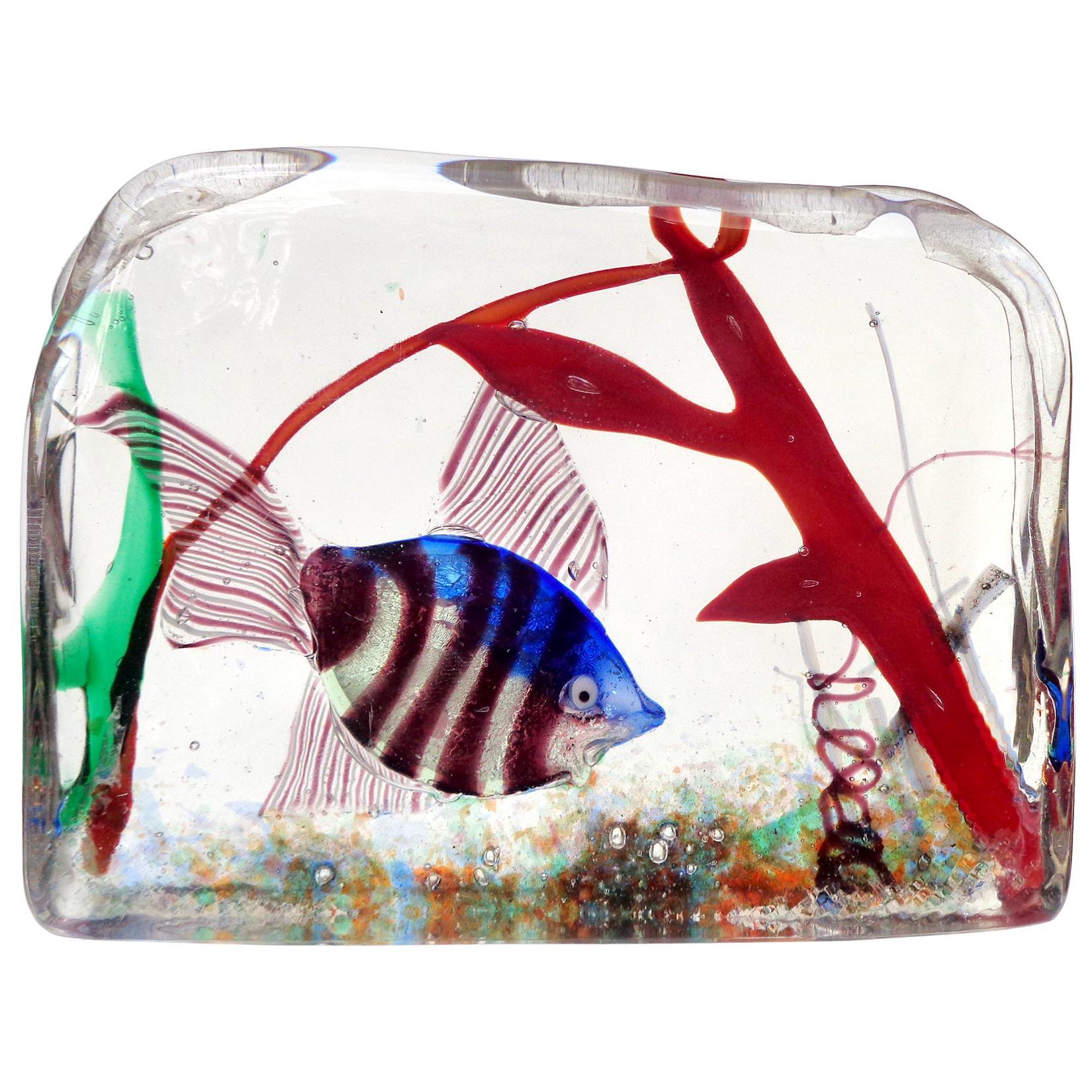 Murano Silver Striped Fish and Coral Italian Art Glass Aquarium Block Sculpture
