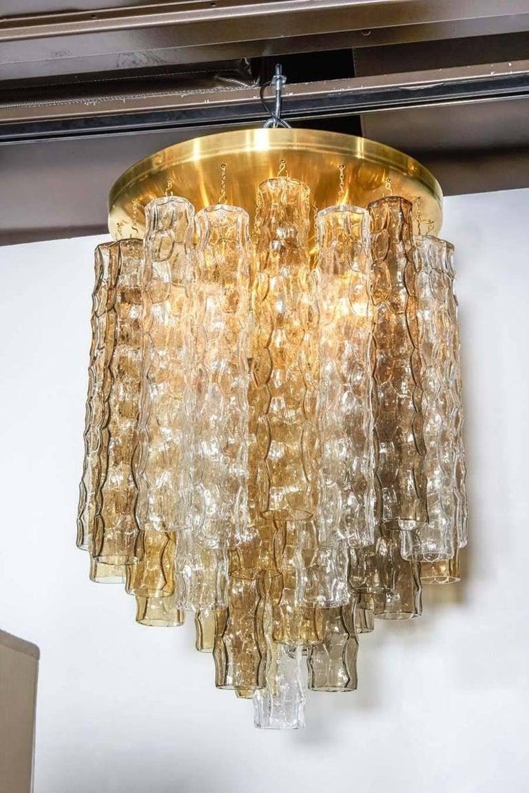 Mid-Century Modern Murano Smoke and Clear Glass and Brass Chandelier For Sale