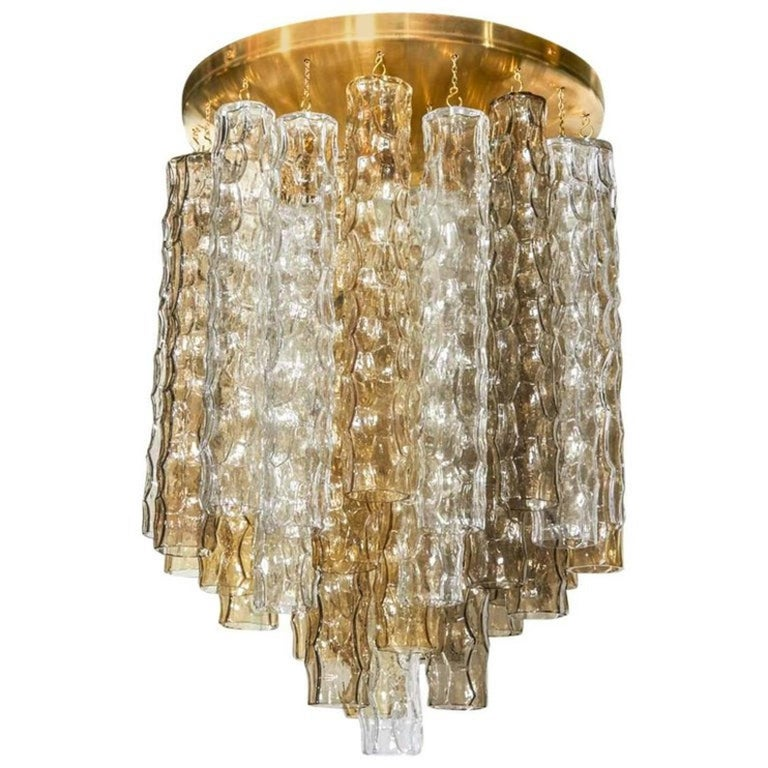 Italian Murano Smoke and Clear Glass and Brass Chandelier For Sale
