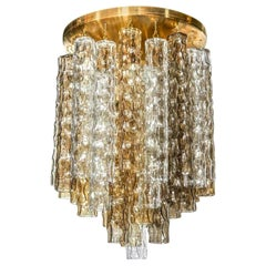 Murano Smoke and Clear Glass and Brass Chandelier