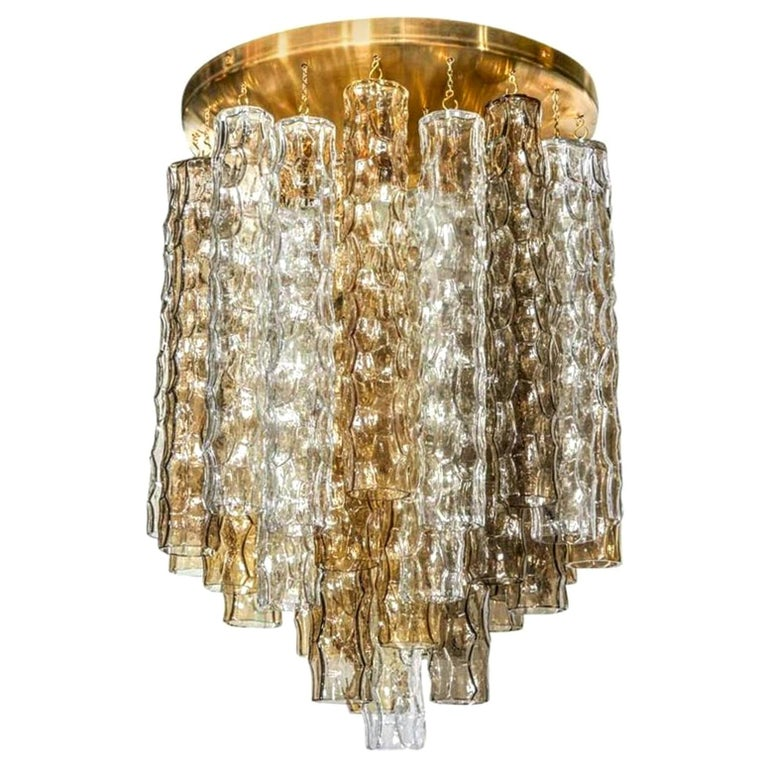 Murano Smoke and Clear Glass and Brass Chandelier For Sale