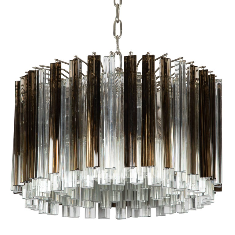 Murano Prism Chandelier: Murano Smoke And Clear Prism Chandelier, Circa 1970s For