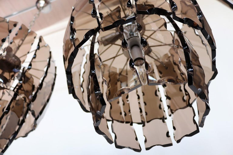 Italian Midcentury Murano Glass and Chrome Chandelier, 1970s For Sale 7