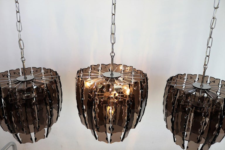 Italian Midcentury Murano Glass and Chrome Chandelier, 1970s For Sale 9