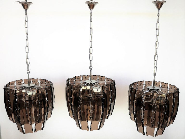Italian Midcentury Murano Glass and Chrome Chandelier, 1970s For Sale 10