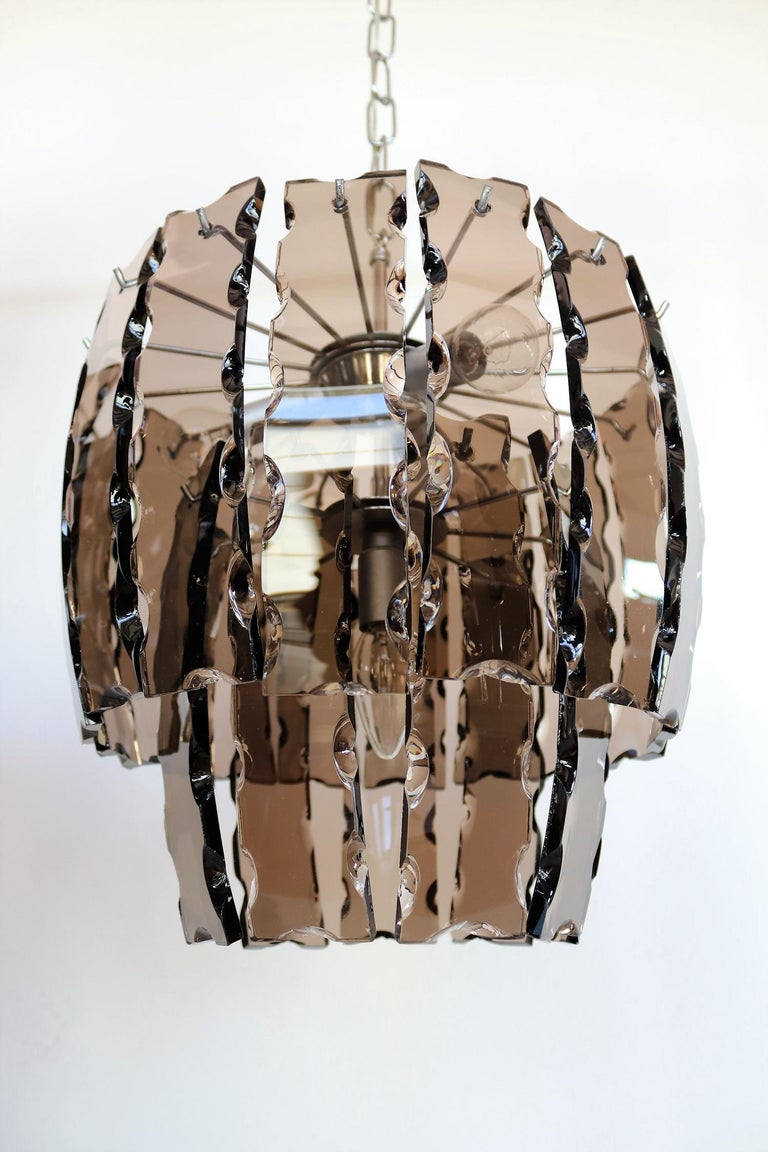 Late 20th Century Italian Midcentury Murano Glass and Chrome Chandelier, 1970s For Sale