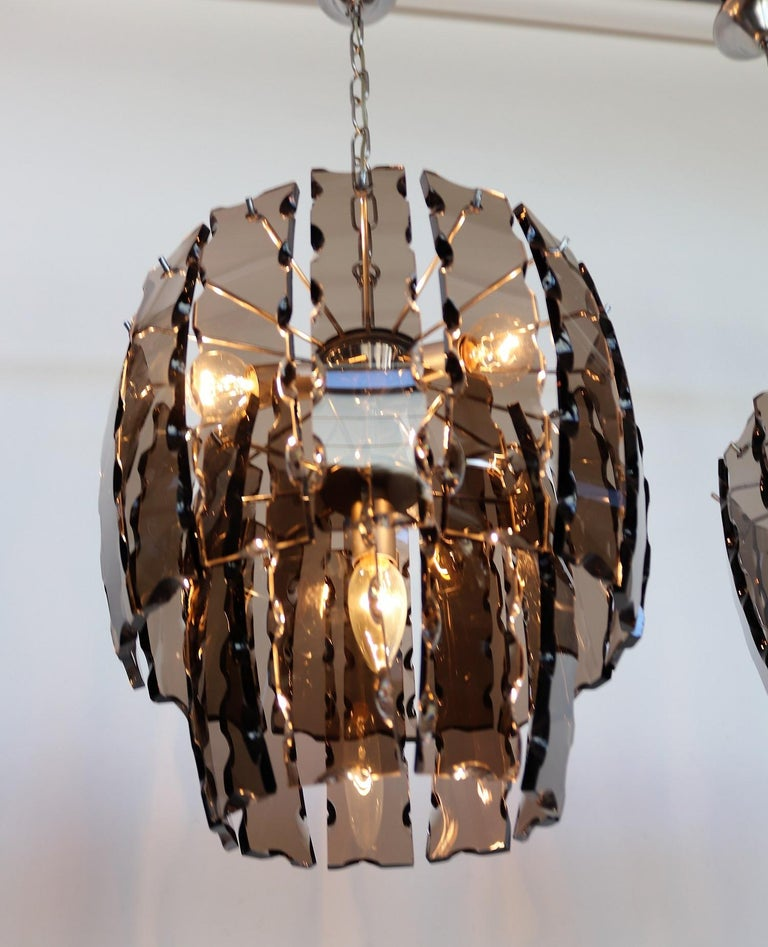 Italian Midcentury Murano Glass and Chrome Chandelier, 1970s For Sale 1