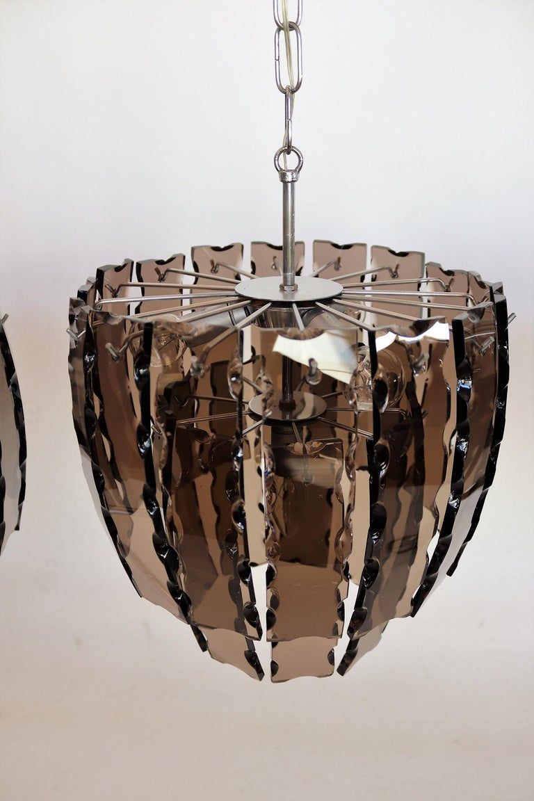 Italian Midcentury Murano Glass and Chrome Chandelier, 1970s For Sale 2