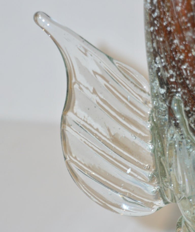 Murano Sommerso Amber and Silver Flecks Art Glass Fish Sculpture For Sale 4