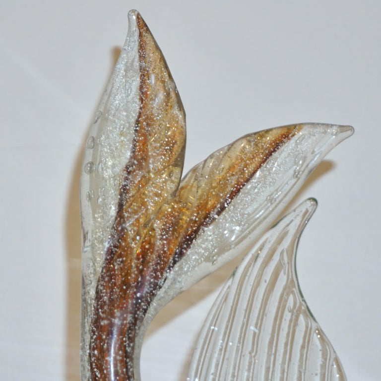 Organic Modern Murano Sommerso Amber and Silver Flecks Art Glass Fish Sculpture For Sale