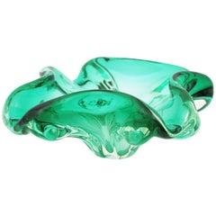 Murano Sommerso Aqua Green Art Glass Bowl, Ashtray or Vide-Poche