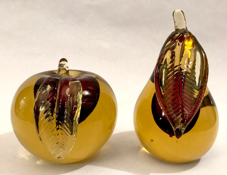 Murano Sommerso Art Glass Apple and Pear Bookends For Sale 6