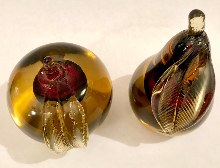 Murano Sommerso Art Glass Apple and Pear Bookends For Sale 7