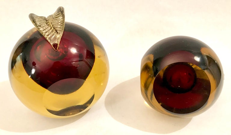 Murano Sommerso Art Glass Apple and Pear Bookends For Sale 8