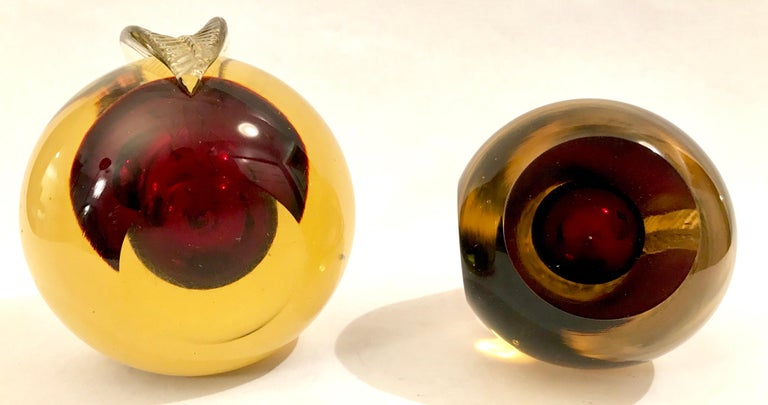 Murano Sommerso Art Glass Apple and Pear Bookends For Sale 9