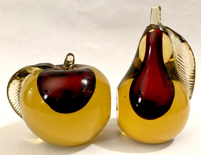 Murano Sommerso art glass apple and pear bookends, Italy, 1960s.