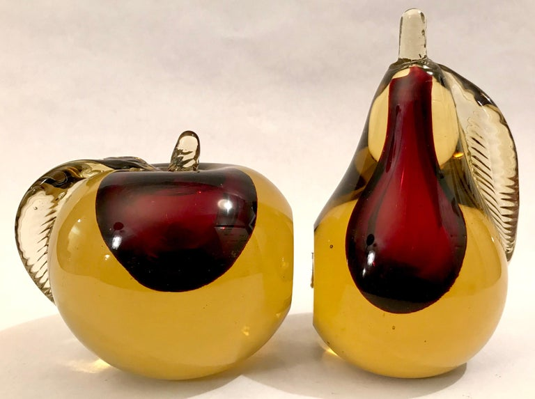 Italian Murano Sommerso Art Glass Apple and Pear Bookends For Sale