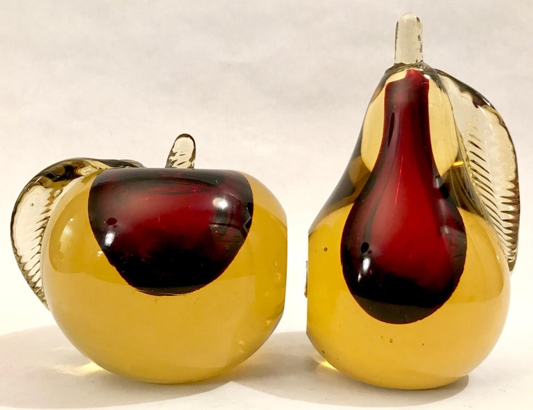 Mid-20th Century Murano Sommerso Art Glass Apple and Pear Bookends For Sale