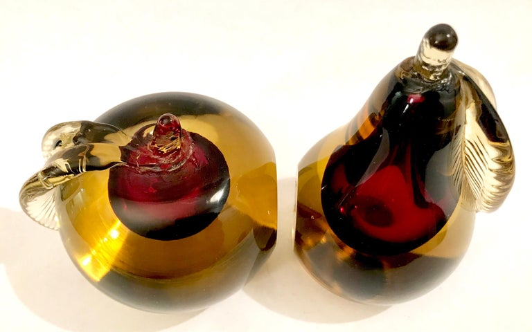 Murano Sommerso Art Glass Apple and Pear Bookends For Sale 1