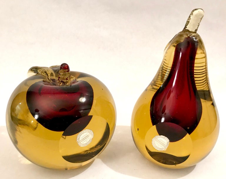 Murano Sommerso Art Glass Apple and Pear Bookends For Sale 2