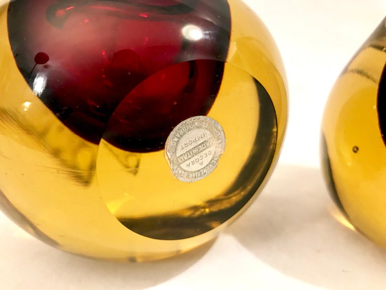 Murano Sommerso Art Glass Apple and Pear Bookends For Sale 3