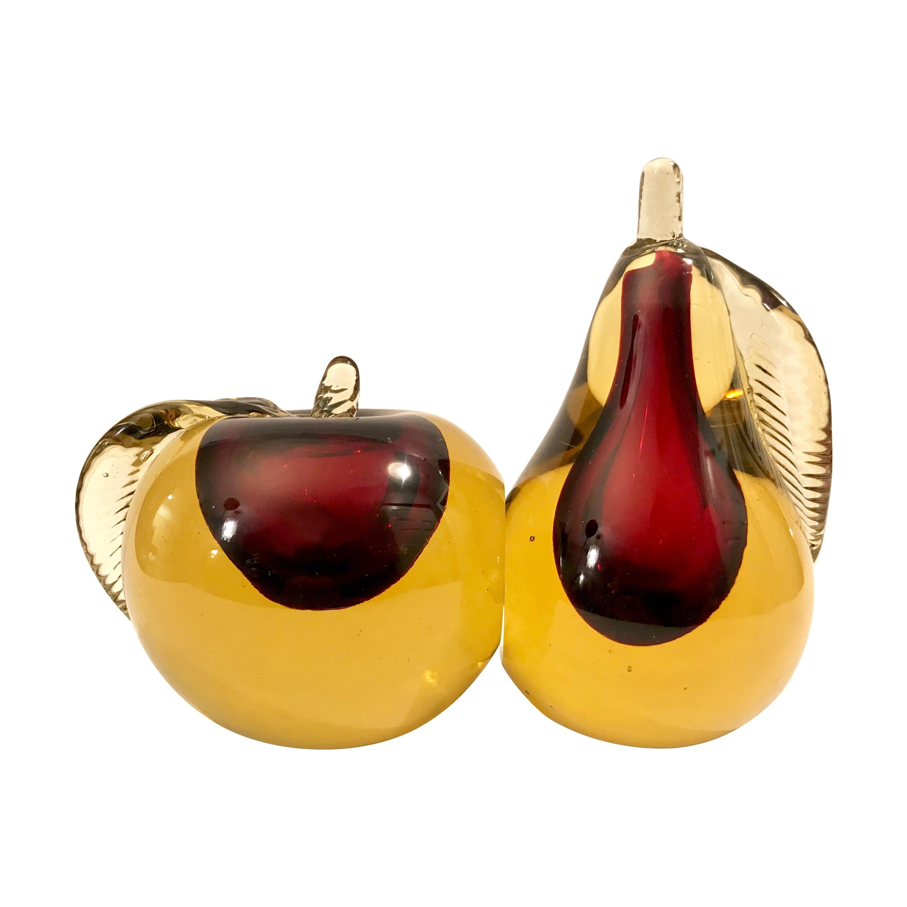 Murano Sommerso Art Glass Apple and Pear Bookends