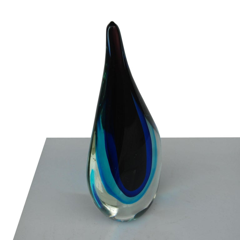 Mid-20th Century Murano Sommerso Art Glass by Flavio Poli For Sale