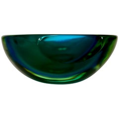 Murano Sommerso Blue-Green Faceted Bowl by Mandruzzato, 1970